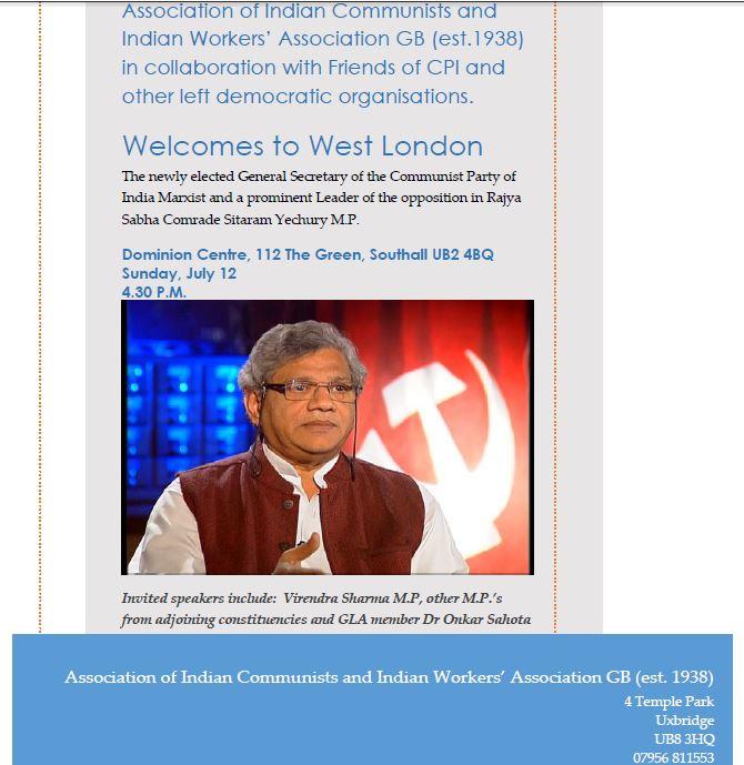 AIC (GB) Welcomes Com.Sitaram Yechuri, Gen Sec. CPI(M)